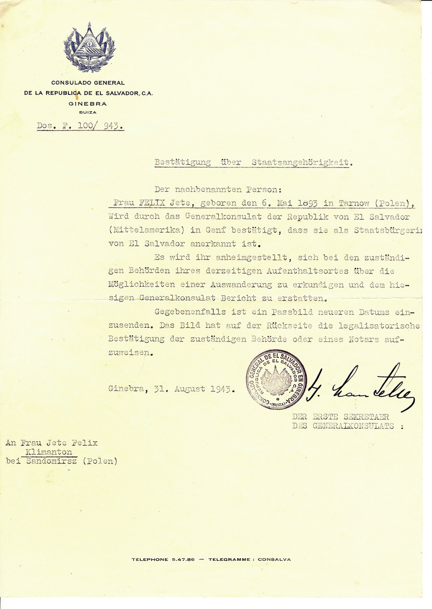 Unauthorized Salvadoran citizenship certificate issued to Jete Felix (b. May 6, 1893 in Tarnow) by George Mandel-Mantello, First Secretary of the Salvadoran Consulate in Switzerland.