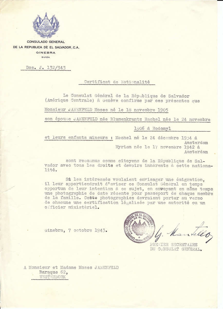 Unauthorized Salvadoran citizenship certificate issued to Moses Janenfeld (b. November 18, 1905), his wife Rachel (nee Blumenkrantz) Janenfeld (b. November 24, 1906 in Rodomyl) and children Mechel (b. December 24, 1934) and Myriam (b. November 17, 1942) by George Mandel-Mantello, First Secretary of the Salvadoran Consulate in Switzerland and sent to them in Westerbork.