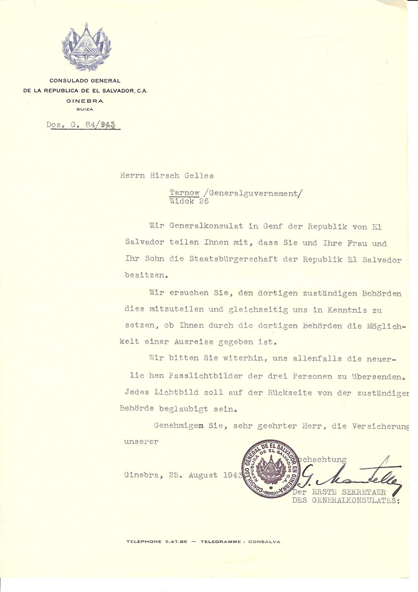 Unauthorized Salvadoran citizenship certificate issued to Hirsch Gelles by George Mandel-Mantello, First Secretary of the Salvadoran Consulate in Switzerland.