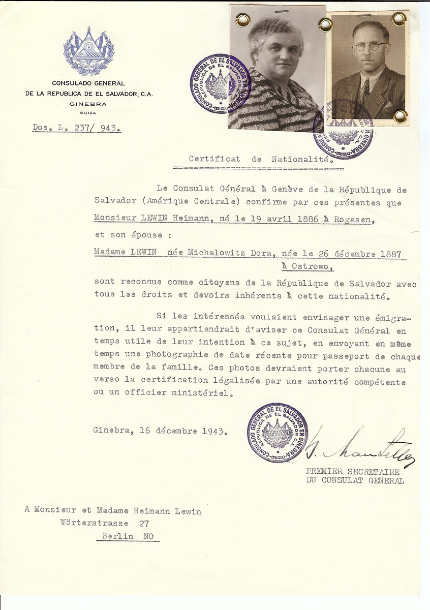 Unauthorized Salvadoran citizenship certificate issued to Heimann Lewin (b. April 19, 1886 in Rogasen) and his wife Dora (nee Michalowitz) Lewin (b. December 26, 1887 in Ostrowo) by George Mandel-Mantello, First Secretary of the Salvadoran Consulate in Switzerland and sent to them at their residence in Berlin.