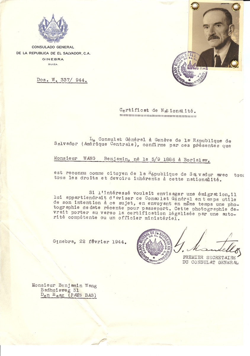 Unauthorized Salvadoran citizenship certificate issued to Benjamin Wang (b. September 5, 1886 in Borislaw) by George Mandel-Mantello, First Secretary of the Salvadoran Consulate in Switzerland and sent to him in at his residence in The Hague.