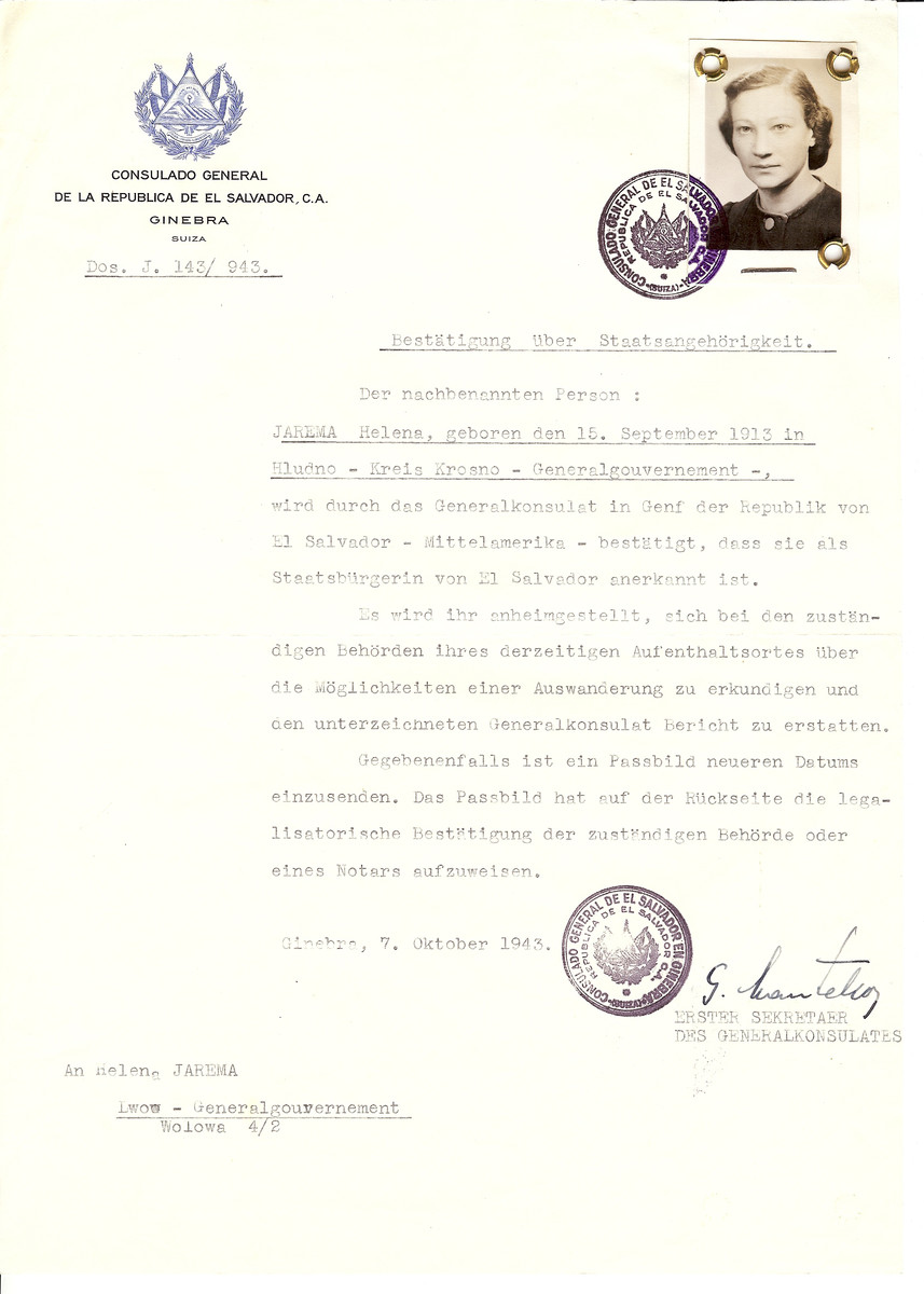 Unauthorized Salvadoran citizenship certificate issued to Helena Jarema (b. September 15, 1913 in Hludno) by George Mandel-Mantello, First Secretary of the Salvadoran Consulate in Switzerland and sent to her in Lvov.