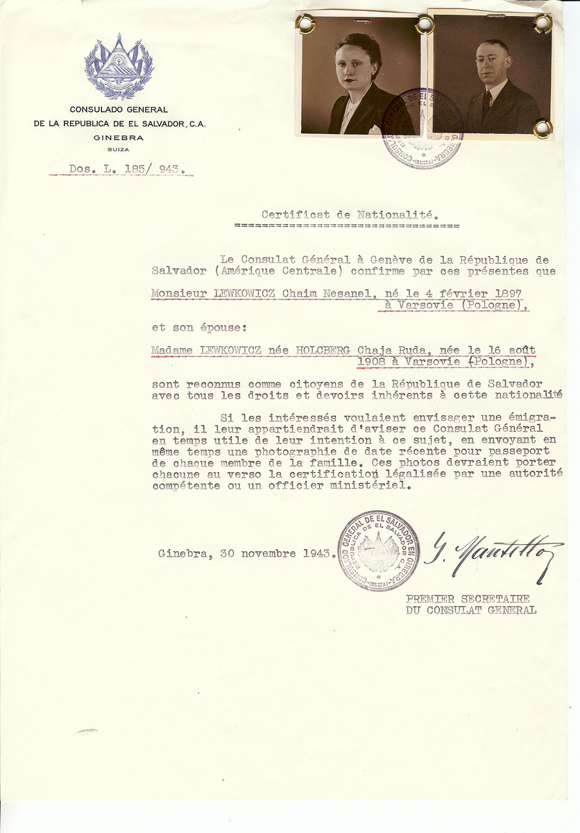Unauthorized Salvadoran citizenship certificate issued to Chaim Nesanel Lewkowicz  (b. February 4, 1897 in Warsaw) and his wife Chaje Ruda (nee Holcberg) Lewkowicz (b. August 16, 1908 in Warsaw) by George Mandel-Mantello, First Secretary of the Salvadoran Consulate in Switzerland.