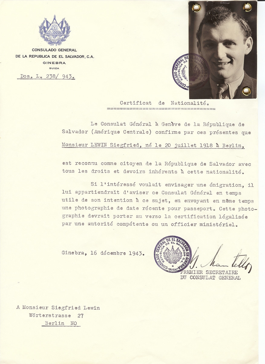 Unauthorized Salvadoran citizenship certificate issued to Siegfried Lewin (b. July 20, 1918 in Berlin) by George Mandel-Mantello, First Secretary of the Salvadoran Consulate in Switzerland and sent to his residence in Berlin.