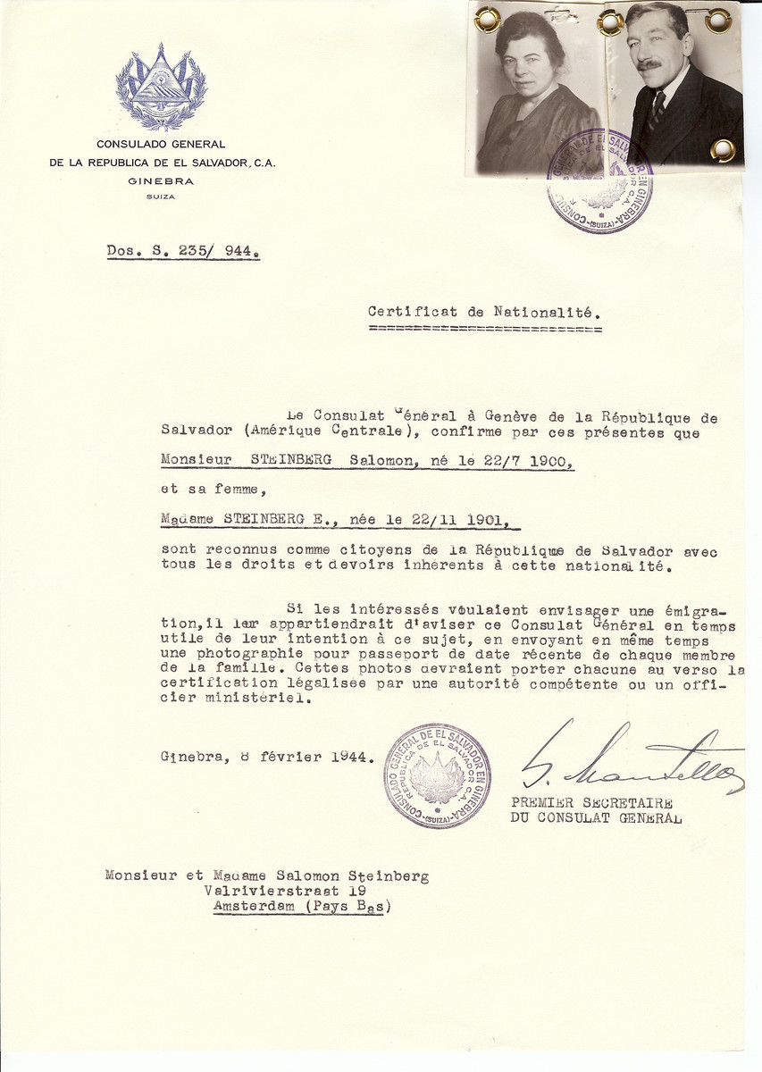 Unauthorized Salvadoran citizenship certificate issued to Salomon Steinberg (b. July 22, 1900) and his wife (b. November 22, 1901) by George Mandel-Mantello, First Secretary of the Salvadoran Consulate in Switzerland and sent to them at their residence in Amsterdam.