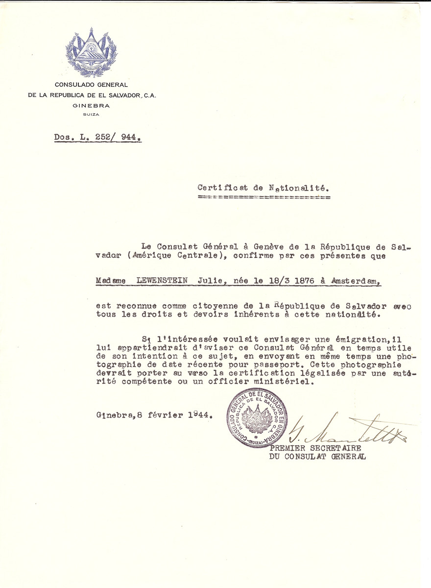 Unauthorized Salvadoran citizenship certificate issued to Julie Lewenstein (b. March 18, 1876 in Amsterdam) by George Mandel-Mantello, First Secretary of the Salvadoran Consulate in Switzerland.