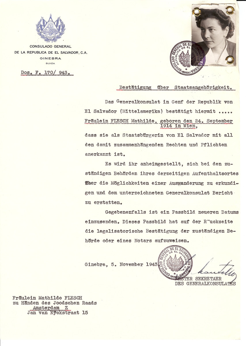 Unauthorized Salvadoran citizenship certificate issued to Mathilde Flesch (b. September 24, 1914 in Vienna) by George Mandel-Mantello, First Secretary of the Salvadoran Consulate in Switzerland and sent to her residence in Amsterdam.