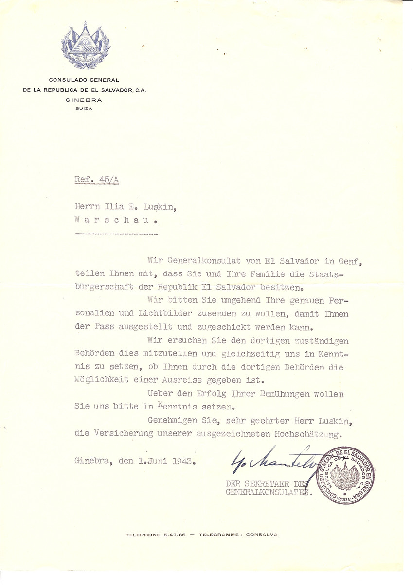 Unauthorized Salvadoran citizenship certificate issued to Ilia Luskin by George Mandel-Mantello, First Secretary of the Salvadoran Consulate in Switzerland and sent to him in Warsaw.