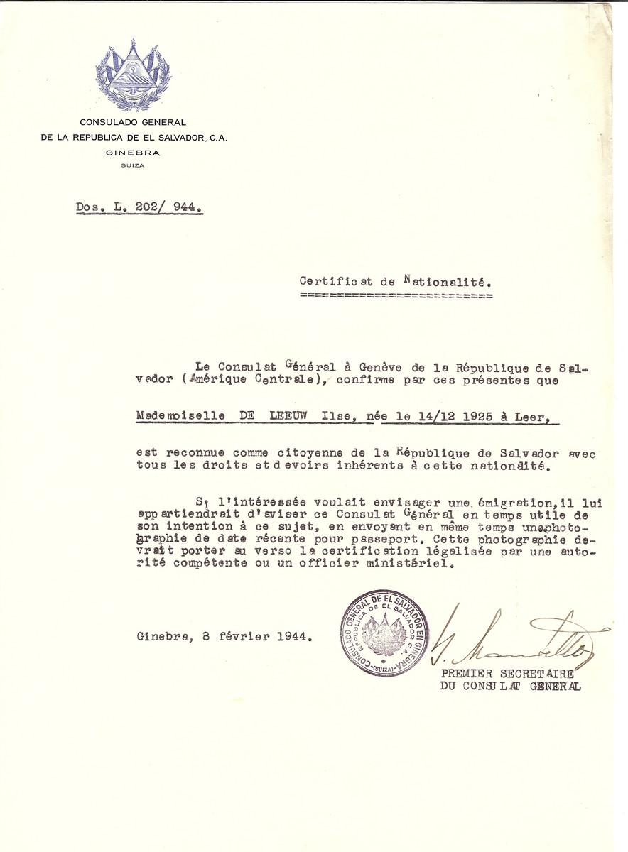 Unauthorized Salvadoran citizenship certificate issued to Ilse de Leeuw (b. December 14, 1925 in Leer) by George Mandel-Mantello, First Secretary of the Salvadoran Consulate in Switzerland.