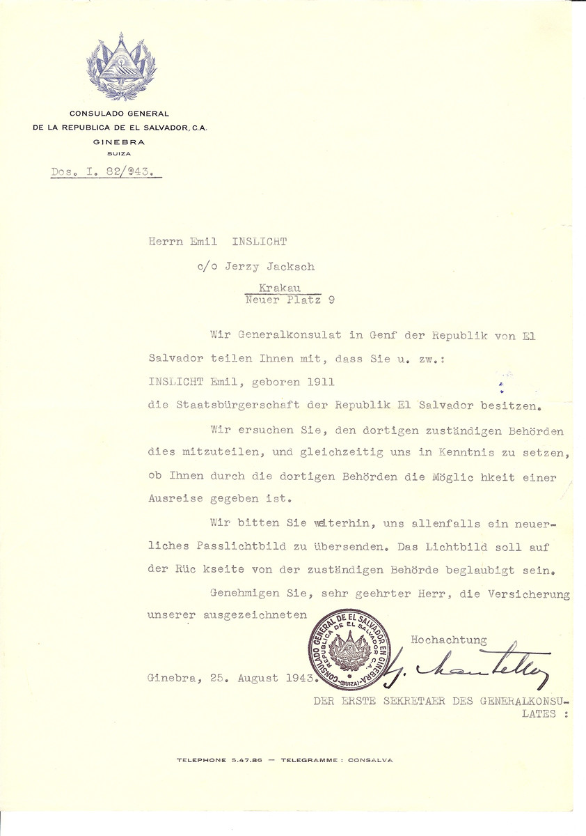 Unauthorized Salvadoran citizenship certificate issued to Emil Inslicht by George Mandel-Mantello, First Secretary of the Salvadoran Consulate in Switzerland and sent to him c/o Jerzy Jacksch in Krakow.