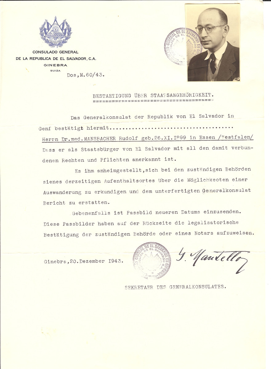 Unauthorized Salvadoran citizenship certificate issued to Dr. Rudolf Mansbacher (b. November 26, 1899 in Essen) by George Mandel-Mantello, First Secretary of the Salvadoran Consulate in Switzerland.