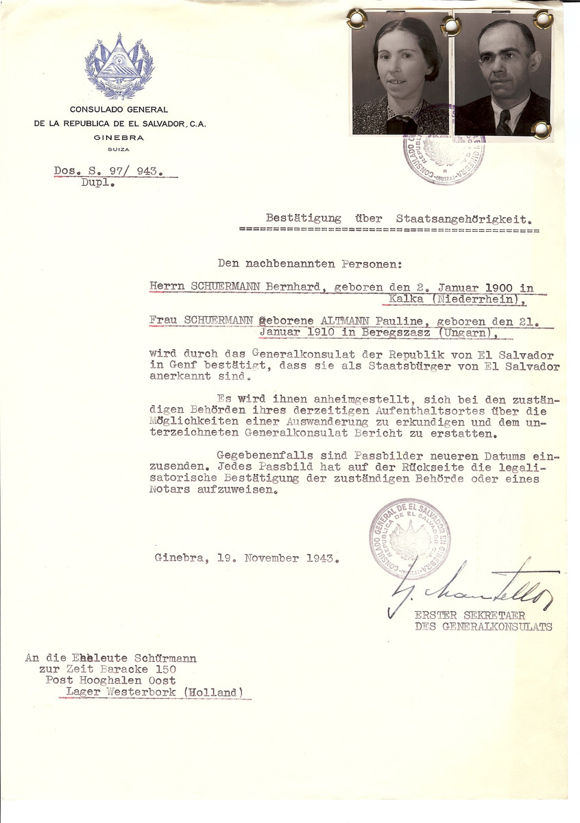 Unauthorized Salvadoran citizenship certificate issued to Bernhard Schuermann (b. January 2, 1900 in Kalka) and his wife Pauline (nee Altmann) Schuermann by George Mandel-Mantello, First Secretary of the Salvadoran Consulate in Switzerland and sent to them in the Westerbork transit camp.