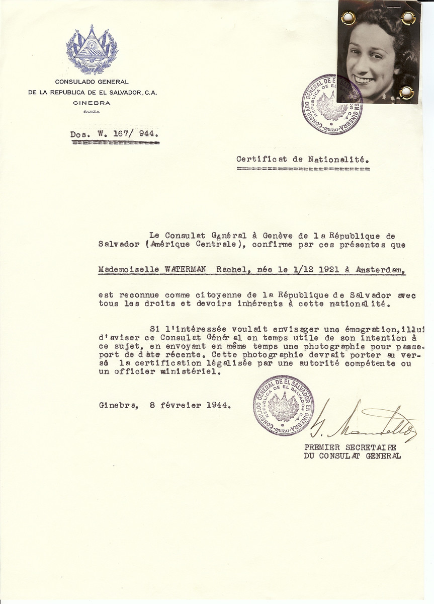 Unauthorized Salvadoran citizenship certificate issued to Rachel Waterman (b. December 1, 1921 in Amsterdam) by George Mandel-Mantello, First Secretary of the Salvadoran Consulate in Switzerland.  Rachel Waterman was deported to Theresienstadt from Westerbork.  She was liberated in Troebitz on April 23, 1945.