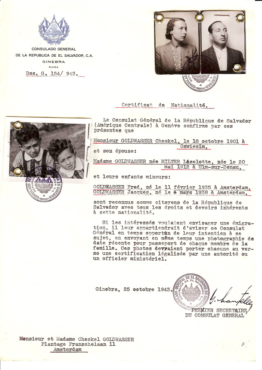 Unauthorized Salvadoran citizenship certificate issued to Cheskel Goldwasser (b. October 18, 1901 in Oswiecim), his wife Liselotte (nee Miller) Goldwasser (b. May 20, 1912 in Ulm-sur-Donau) and their children Fred (b. February 11, 1935) and Jacques (b. March 6, 1938) by George Mandel-Mantello, First Secretary of the Salvadoran Consulate in Switzerland and sent to their residence in Amsterdam.