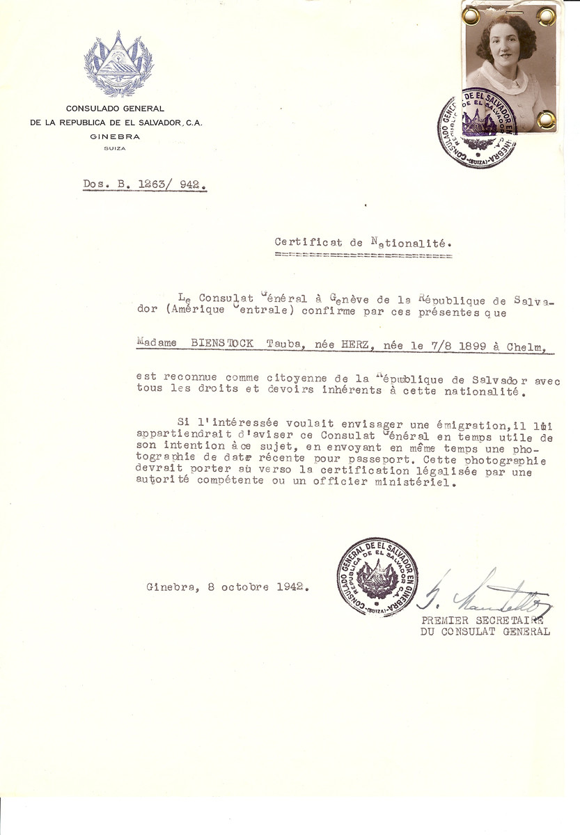 Unauthorized Salvadoran citizenship certificate issued to Tauba (nee Herz) Binstock (b. August 7, 1899 in Chelm) by George Mandel-Mantello, First Secretary of the Salvadoran Consulate in Switzerland.