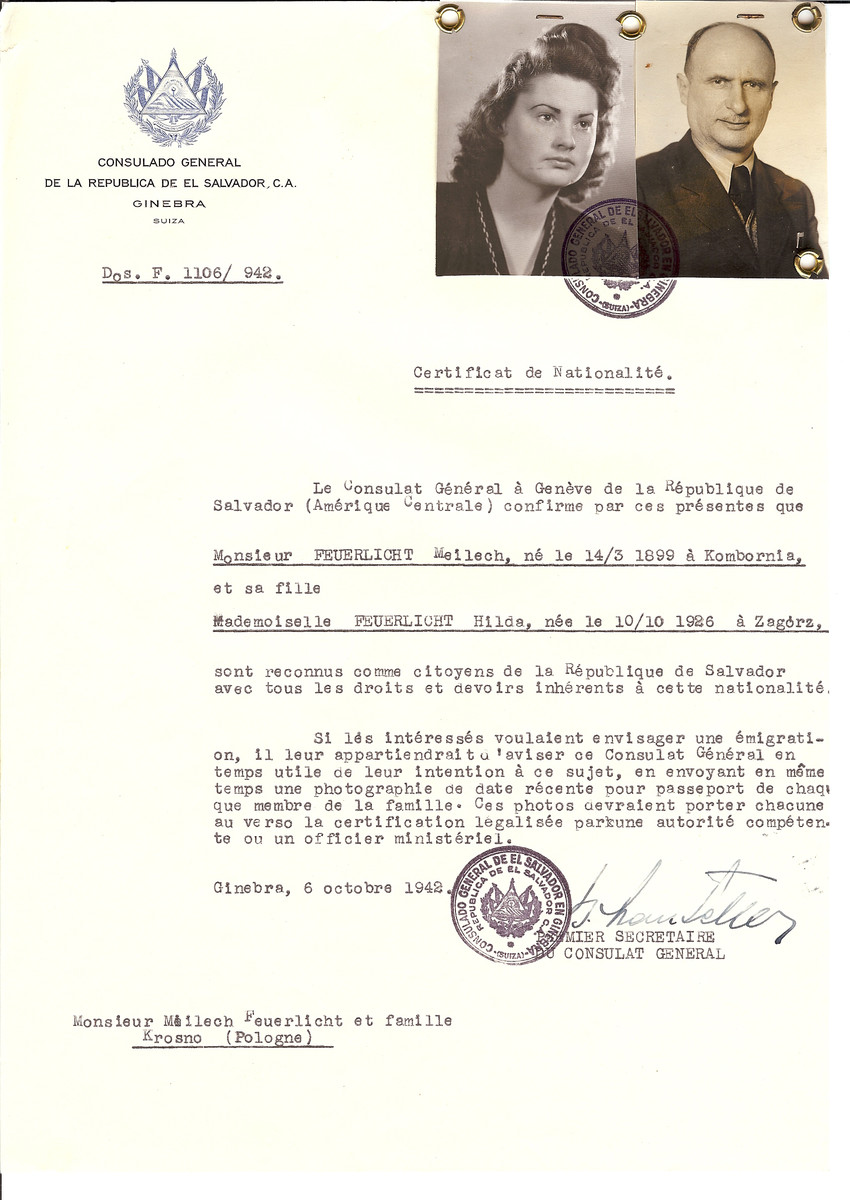 Unauthorized Salvadoran citizenship certificate issued to Meilech Feuerlicht (b. March 14, 1899 in Kombornia) and his daughter Hilda Feuerlicht (b. October 10, 1926 in Zagorz) by George Mandel-Mantello, First Secretary of the Salvadoran Consulate in Switzerland and sent to them in Krosno.