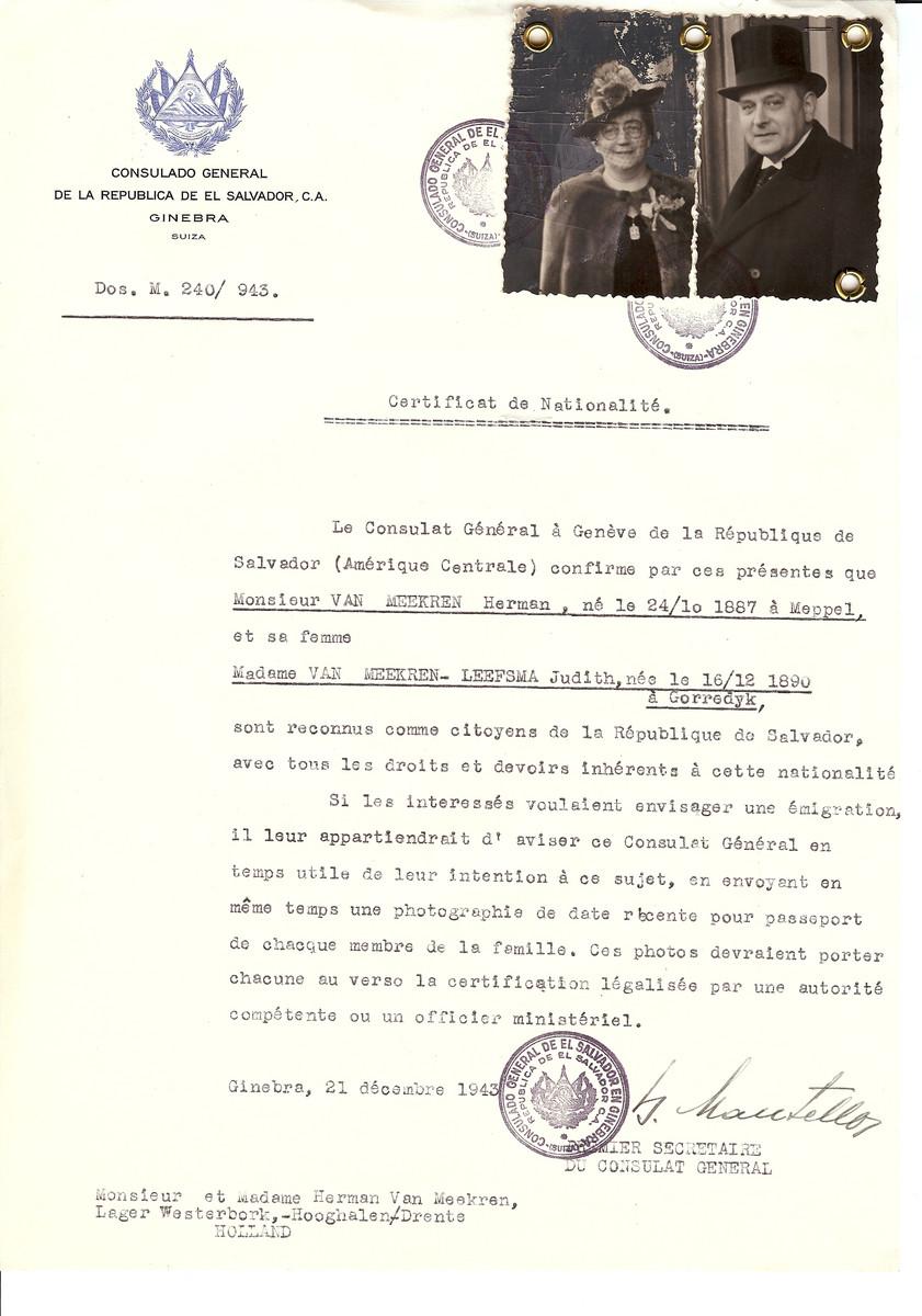 Unauthorized Salvadoran citizenship certificate issued to Herman van Meerken (b. October 24, 1887 in Meppel) and his wife Judith van Meerken-Leefsma (b. December 16, 1890 in Gorredyk) by George Mandel-Mantello, First Secretary of the Salvadoran Consulate in Switzerland and sent to them in the Westerbork transit camp.