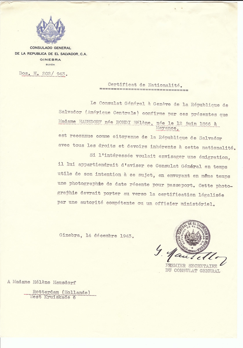 Unauthorized Salvadoran citizenship certificate issued to Helene (nee Bondi) Hausdorf (b. June 12, 1866 in Mayance) by George Mandel-Mantello, First Secretary of the Salvadoran Consulate in Switzerland and sent to her residence in Rotterdam.