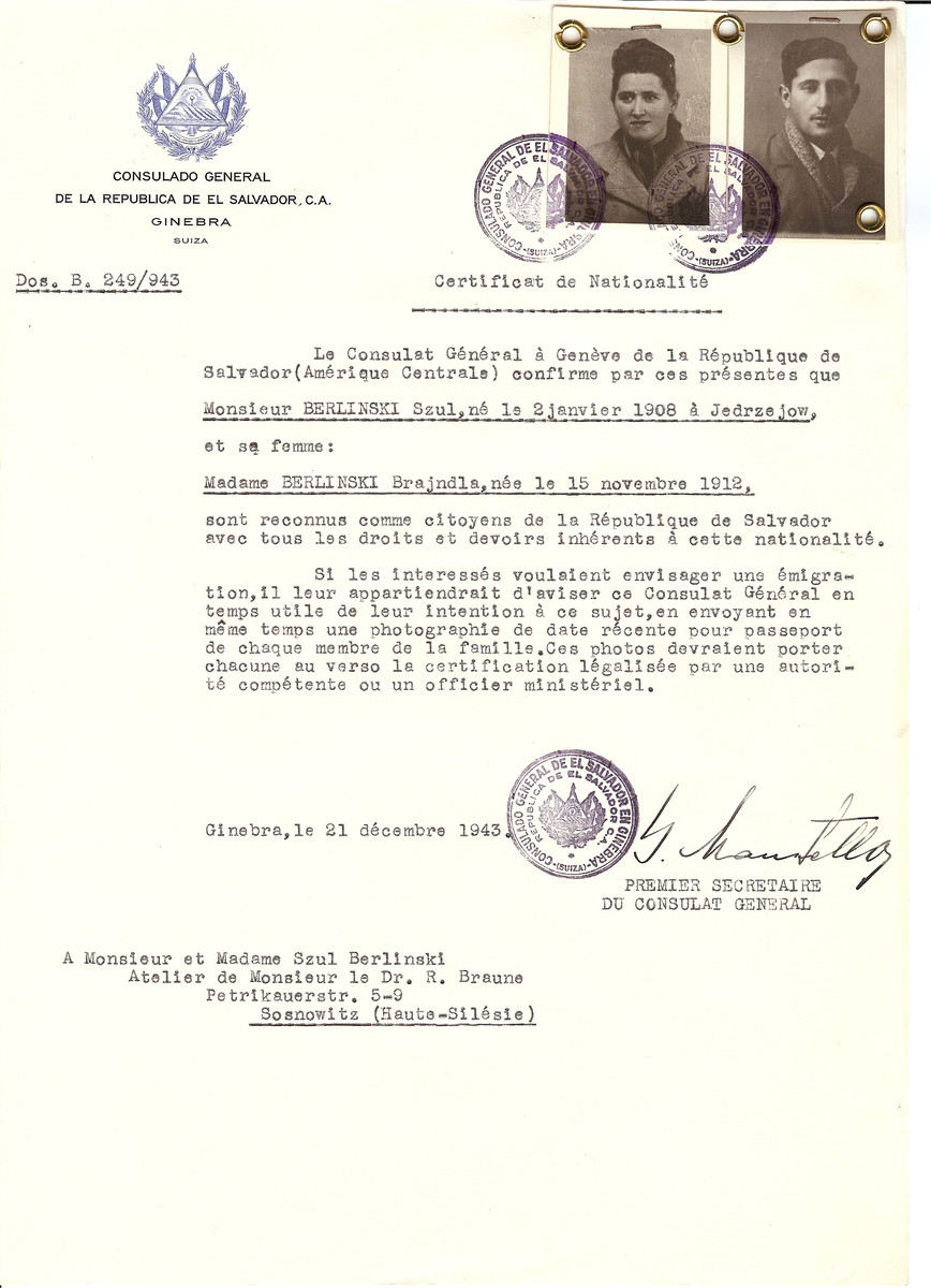 Unauthorized Salvadoran citizenship certificate issued to Szul Berlinski (b. January 2, 1908 in Jedrzejow) and his wife Brajndla Berlinksi (b. November 15, 1912) by George Mandel-Mantello, First Secretary of the Salvadoran Consulate in Switzerland and sent to their residence in Sosnowitz.