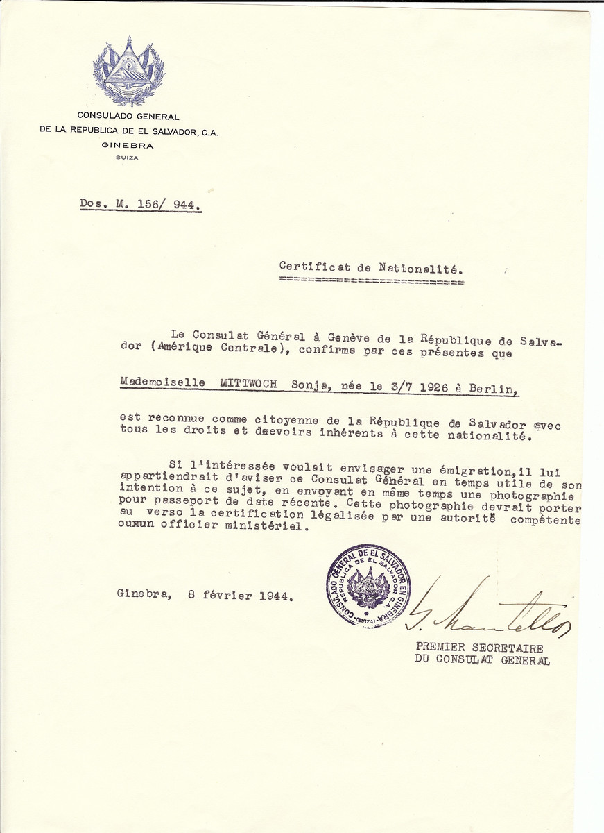 Unauthorized Salvadoran citizenship certificate issued to Sonja Mittwoch (b. July 3, 1926 in Berlin) by George Mandel-Mantello, First Secretary of the Salvadoran Consulate in Switzerland.