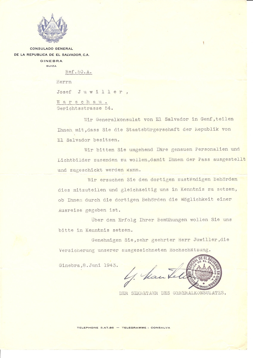 Unauthorized Salvadoran citizenship certificate issued to Josef Juwiller by George Mandel-Mantello, First Secretary of the Salvadoran Consulate in Switzerland and sent to him in Warsaw.