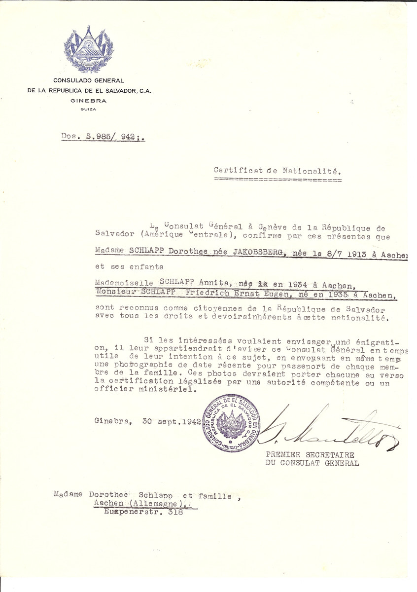 Unauthorized Salvadoran citizenship certificate issued to Dorothee (nee Jakobsberg) Schlapp (b. July 8, 1913 in Aachen) and her children Annita (b. 1934) and Friedrich (b. 1935) by George Mandel-Mantello, First Secretary of the Salvadoran Consulate in Switzerland and sent to their residence in Aachen.