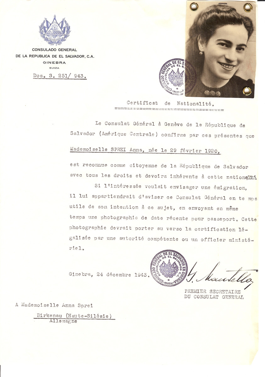 Unauthorized Salvadoran citizenship certificate issued to Anna Sprei (b. February 29, 1920) by George Mandel-Mantello, First Secretary of the Salvadoran Consulate in Switzerland and sent to her in the Auschwitz concentration camp.