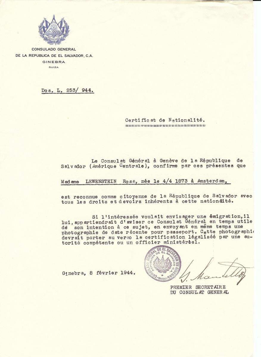 Unauthorized Salvadoran citizenship certificate issued to Rosa Lewenstein (b. April 4, 1873 in Amsterdam) by George Mandel-Mantello, First Secretary of the Salvadoran Consulate in Switzerland.