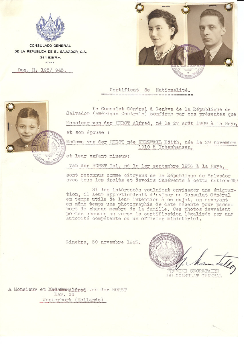 Unauthorized Salvadoran citizenship certificate issued to Alfred van der Horst (b. August 27, 1909 in The Hague), his wife Edith (nee Kurzweil) van der Horst (b. November 29, 1910 in Ichenhausen) and son Isi (b. September 1936 in The Hague) by George Mandel-Mantello, First Secretary of the Salvadoran Consulate in Switzerland and sent to his residence in Amsterdam.  The van der Horst family was deported to Bergen Belsen where they were registered as Salvadoran nationals.  Alfred died there from disease in February 1945 and Edith died in April shortly before liberation.  Only Isi (Isaac) survived the Holocaust.