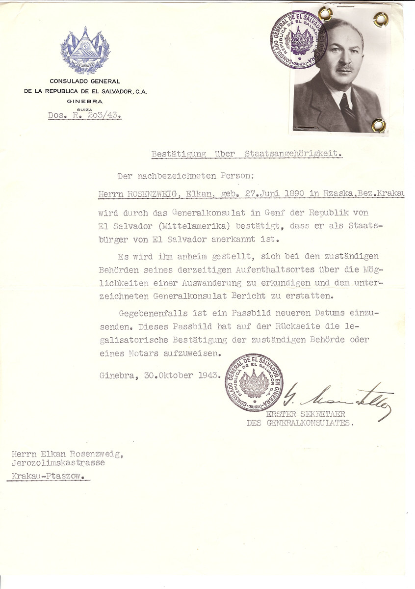 Unauthorized Salvadoran citizenship certificate issued to Elkan Rosenzweig (b. June 27, 1890 in Rzaka) by George Mandel-Mantello, First Secretary of the Salvadoran Consulate in Switzerland and sent to him in Krakow.