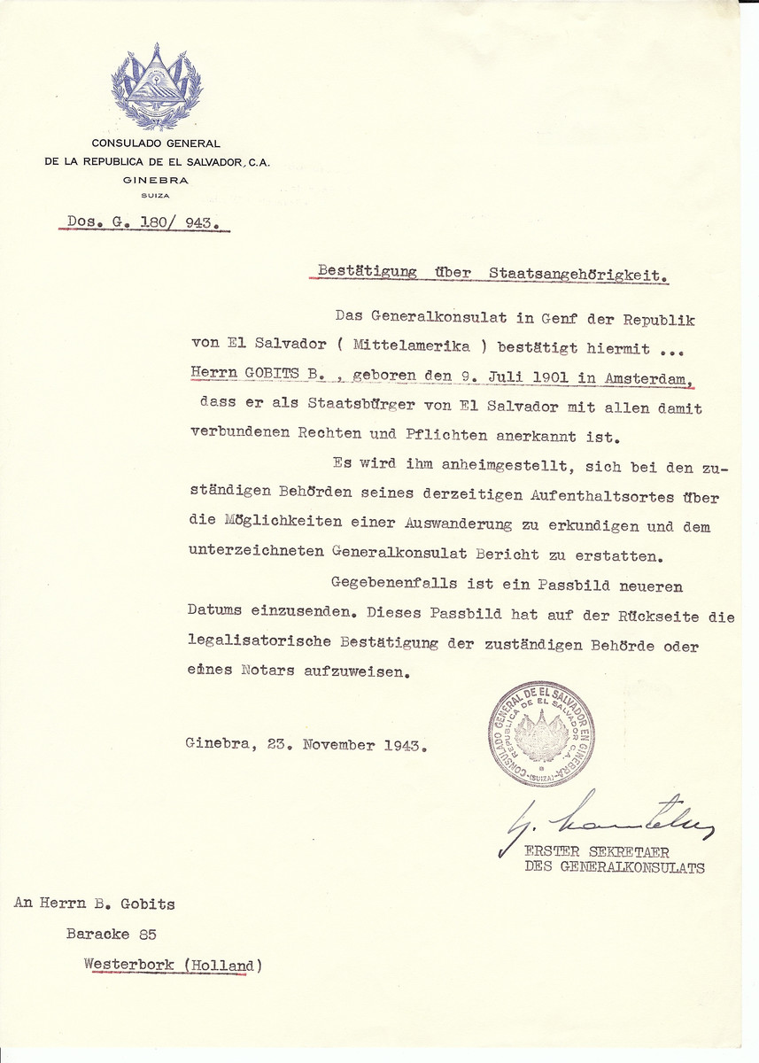 Unauthorized Salvadoran citizenship certificate issued to B. Gobits (b. July 9, 1901 in Amsterdam) by George Mandel-Mantello, First Secretary of the Salvadoran Consulate in Switzerland and sent to his residence in Amsterdam.