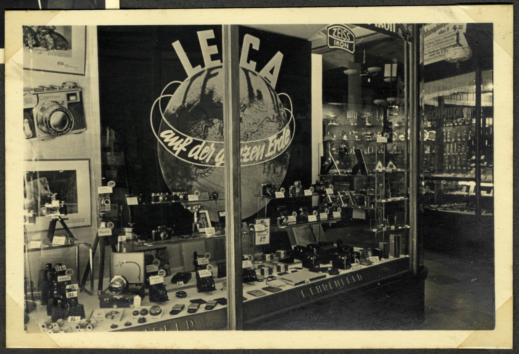 View of the Leica display window in the Ehrenfeld's gift shop, Haus der Geschenke, the largest distributor of most electronics in Germany.