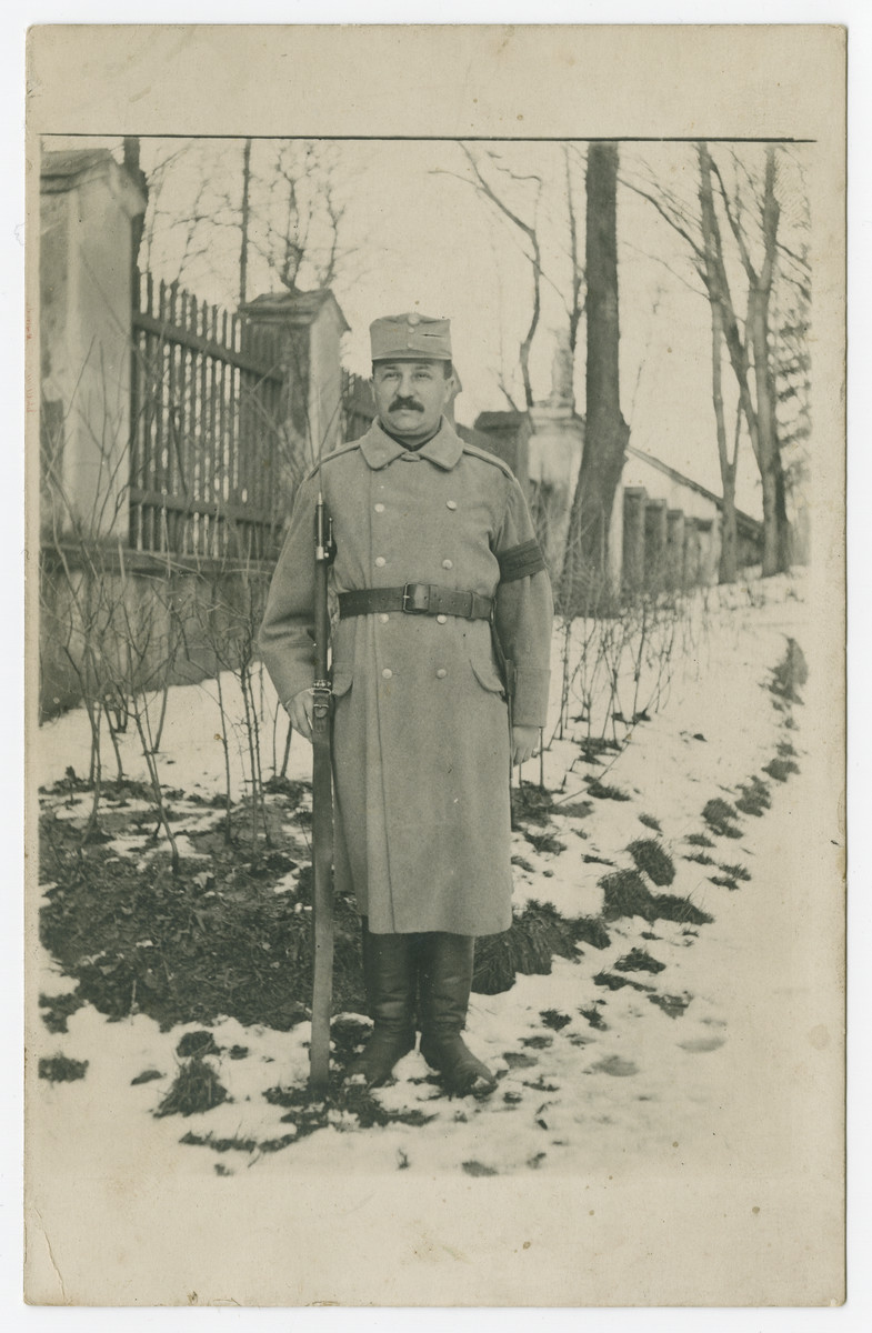 Franz Joseph Morawetz poses in the snow with his weapon while serving in the Austro-Hungarian Army in World War I.  He was later murdered in Auschwitz.