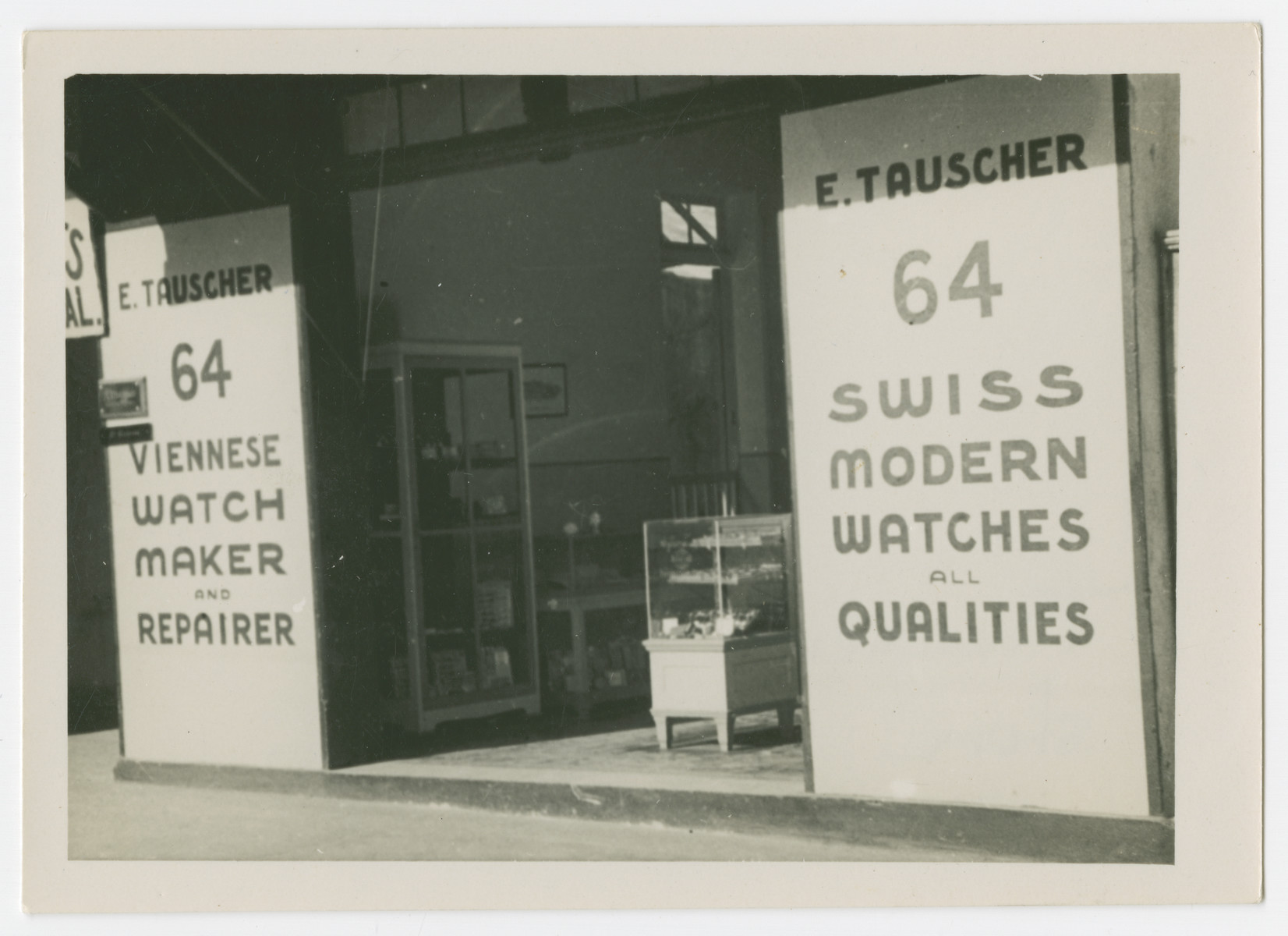 Exterior view of the watch store belonging to Erich Tauscher, a Jewish refugee in Trinidad.