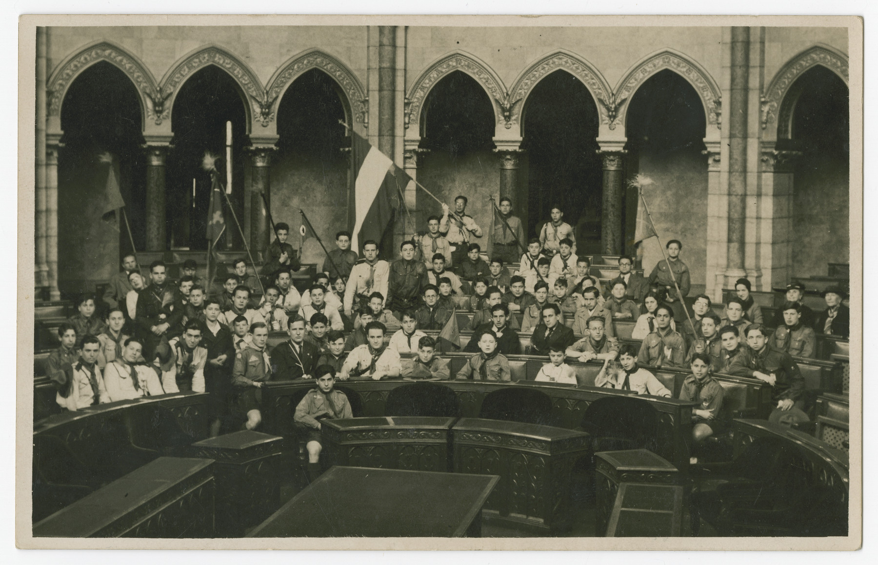 A Viennese boy scout troop visits Budapest.  Among those pictured is Hans Morawetz.