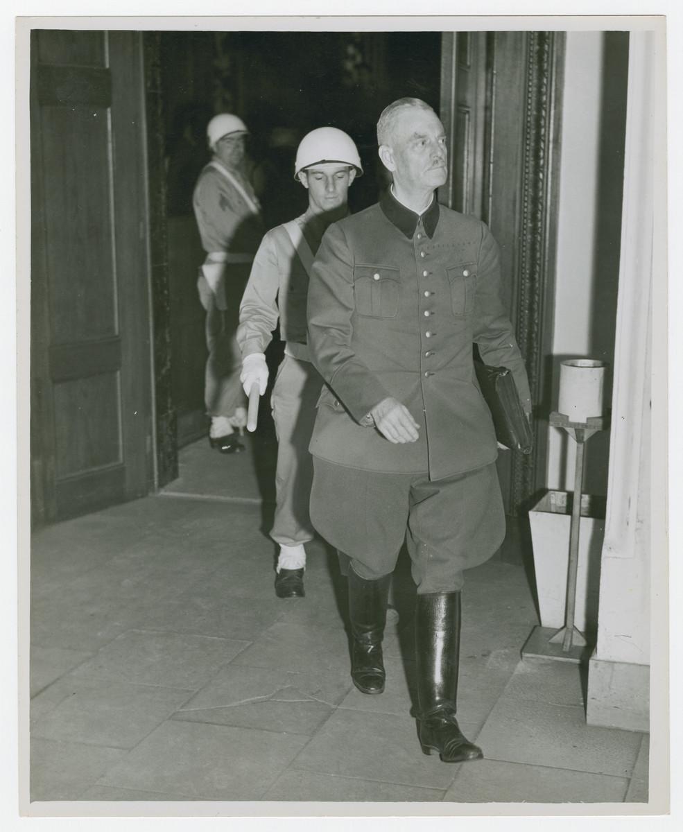 Wilhelm Keitel enters the courtroom during the Nuremberg trial.