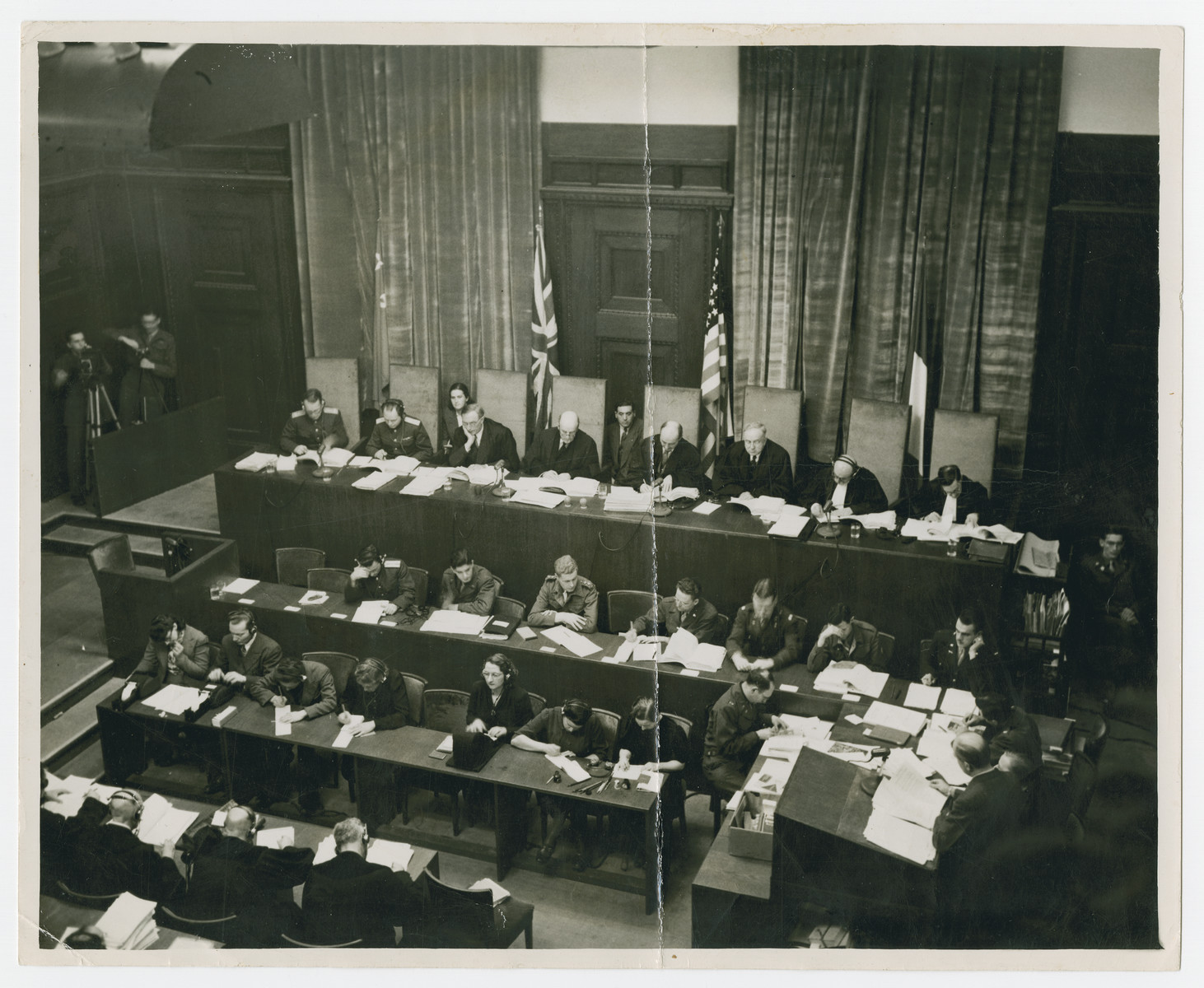 Overhead photo of the judges of the Nuremberg trials.