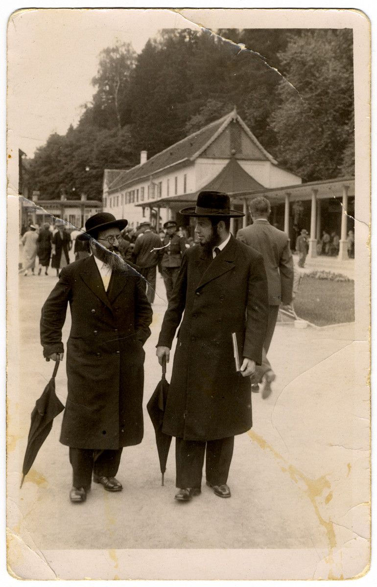 Two Orthodox Jewish men visit a spa in Czechoslovakia.  Pictured on the left is Rabbi Elias Grunfeld, the uncle and brother-in-law of the donor.  Rabbi Grunfeld was the chief rabbi of Brno; he later perished in the Holocaust.