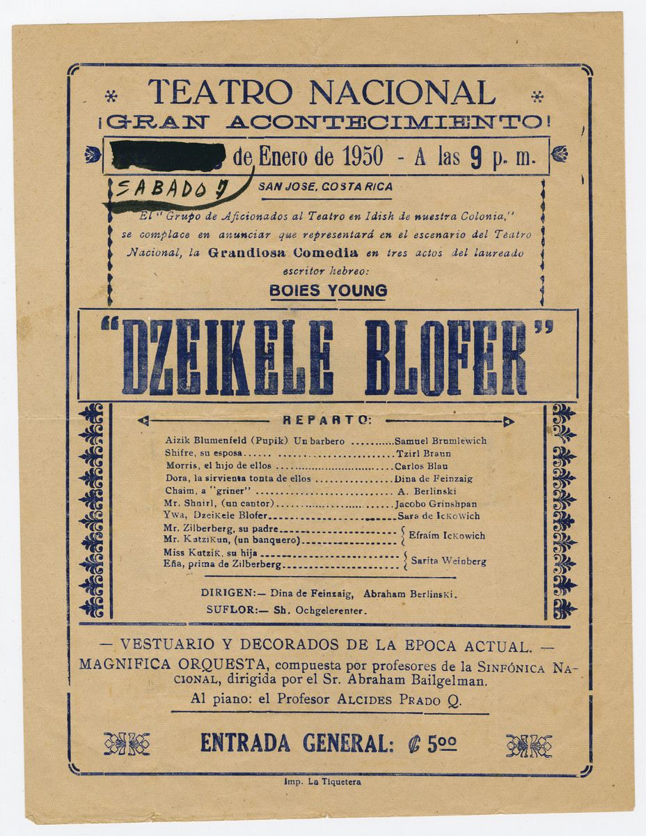 "Flyer for the National Yiddish Theater's performance of ""Dzeikele Blofer."""
