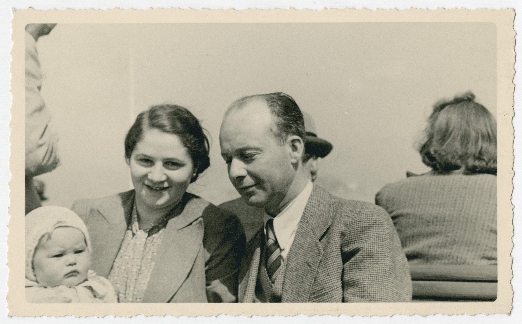 Close-up portrait of Guido Nacamu with his wife Lisl Meier Nacamu and daughter Adelaide.  They later immigrated to the United States.