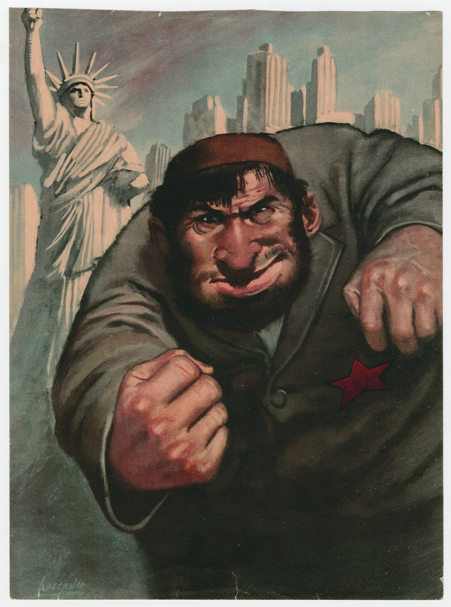Color antisemitic poster produced in Italy in 1942.   It depicts a figure with a red headband and a star sewn on his jacket appearing to punch the viewer. The background of the poster includes the skyline of New York City and the Statue of Liberty. The star is a five-pointed star rather than a Magen David, though the figure is clearly meant to be Jewish.  The father of the donor received the poster after the war the custodian of a Bologna High School, Liceo Minghetti, who, instead of posting it on the wall, as requested by the local authorities during the racial law period, kept it in a drawer.