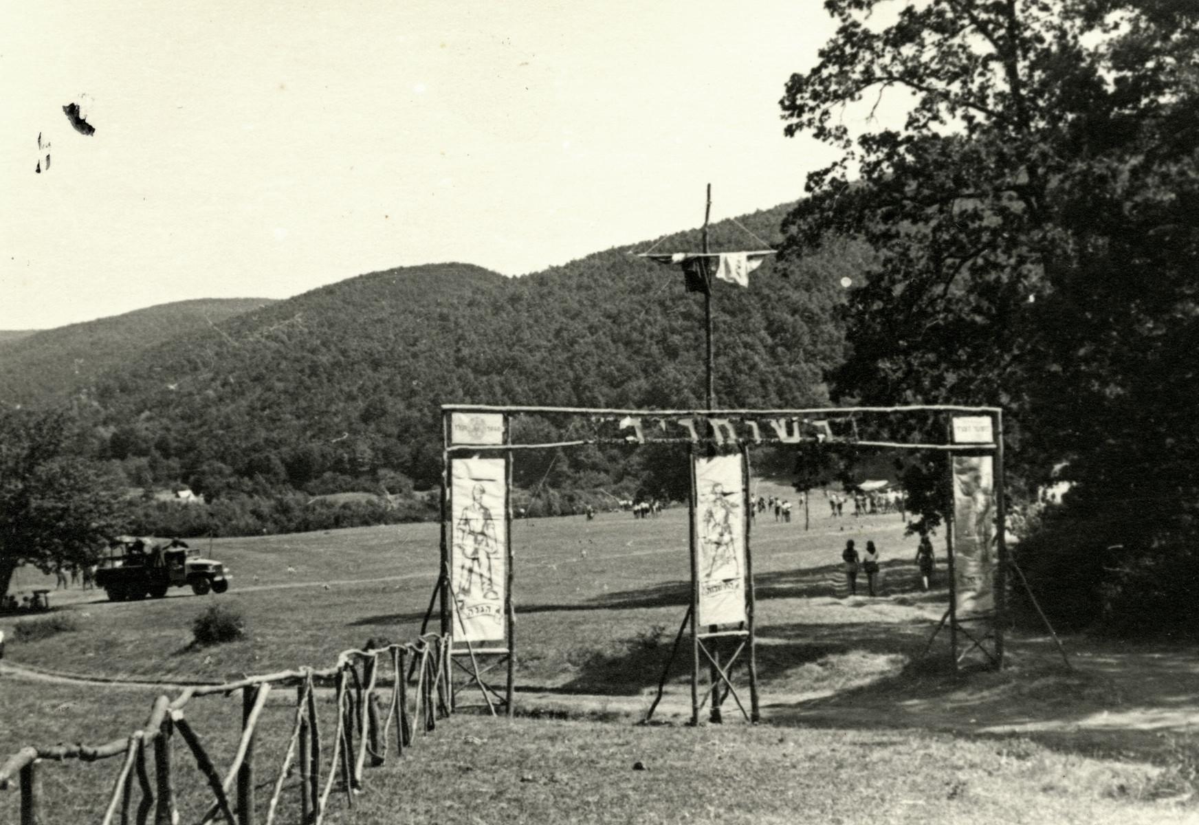 View of the entrance to Shomria, the Shomer Hatzair camp in postwar Hungary.