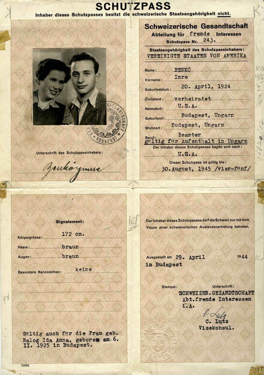 Forged protective pass issued to Ephraim and Tzippora Teichman under the name of Imre Benko.  The two were members of the Zionist underground in Budapest.