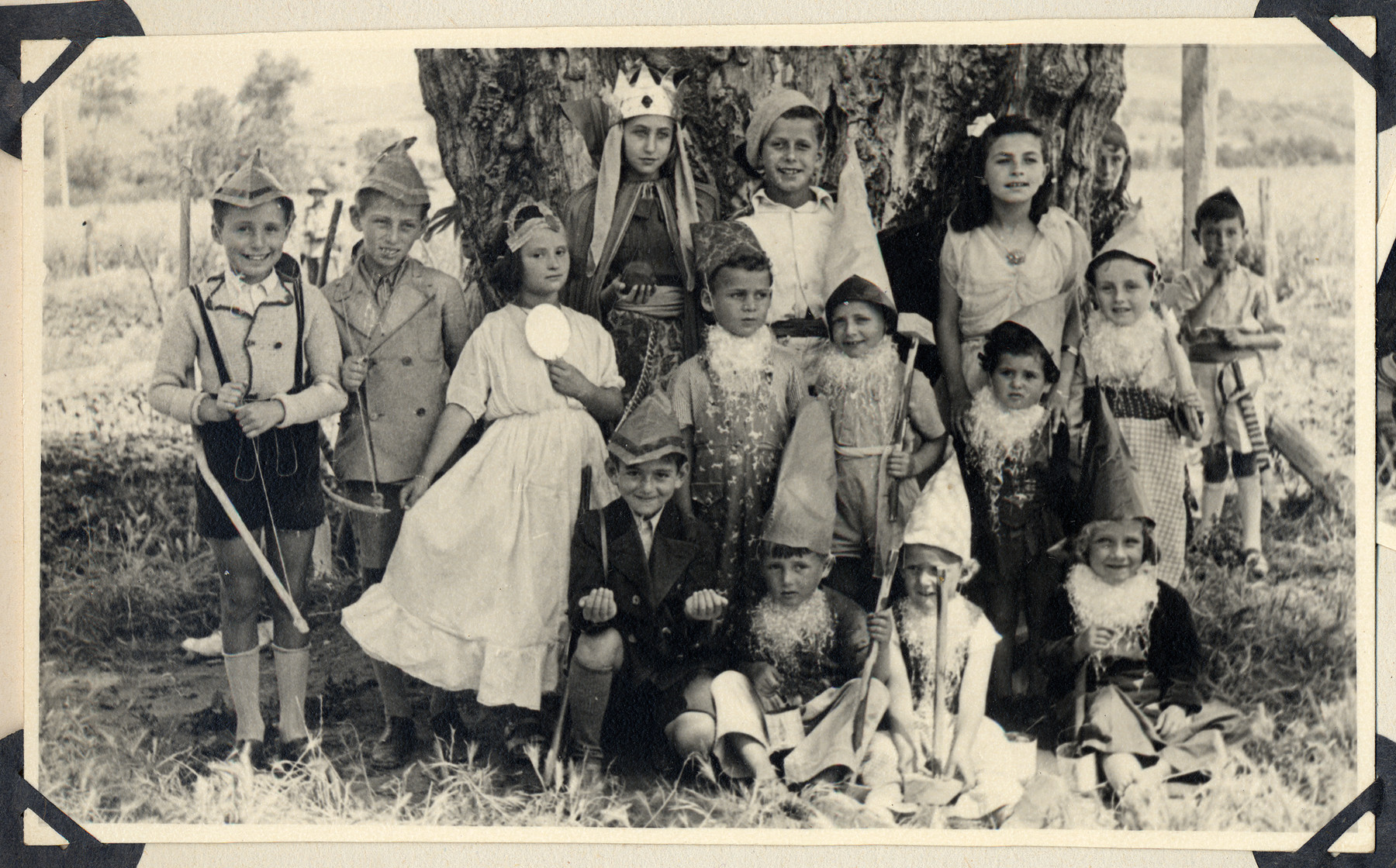 Children in the Ferramonti internment camp pose in their costumes for a play of Snow White written by Hella Mayer and performed in the camp.