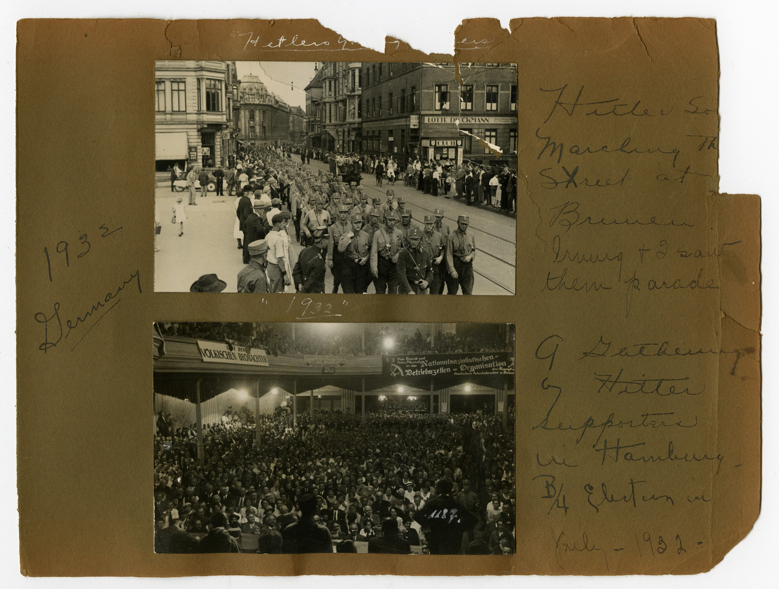 "Photograph album page showing Nazi soldiers and Hitler supporters in Germany, 1932.   Original caption on album page reads, ""1932 Germany."" Bottom-most photo caption reads, ""A gathering of Hitler supporters in Hamburg before election in 1932."""