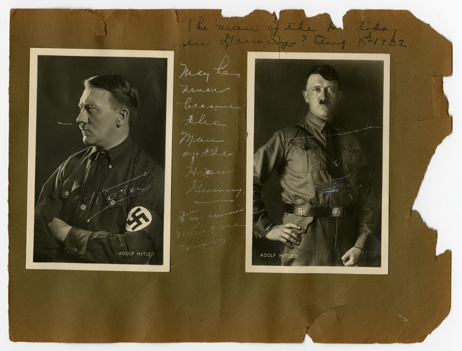 """Album page with two portraits of  Adolf Hitler in 1932.   Original caption on album page reads, """"The man of the hour today in Germany? Aug. 15, 1932."""" A second caption reads, """"May he never become the man of the hour in Germany."""""""