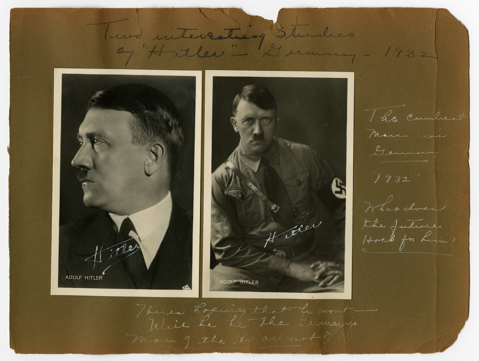 "Album page with two close-up portraits of Adolf Hitler in Germany, 1932.   Original caption reads, ""Two interesting studies of ""Hitler"" -- Germany -- 1932."" Subtext reads: ""The cruelest man in Germany '1932'""  ""What does the future hold for him?"""