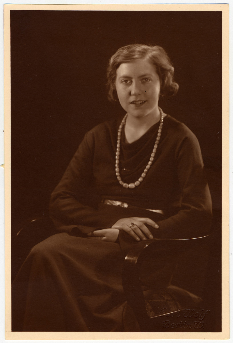 Ilse Hanauer sits for a studio portrait.