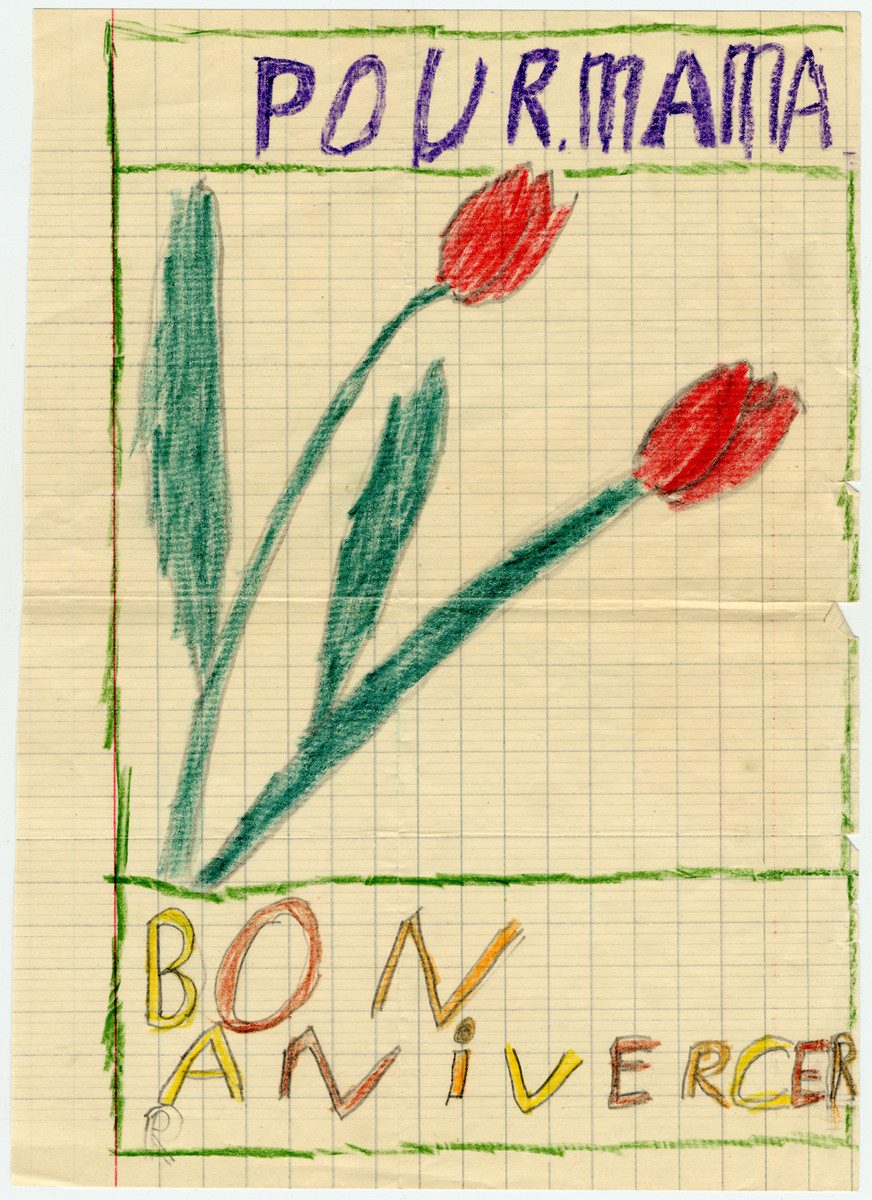 Decorated birthday card drawn by Jacqueline Mendels for her mother.