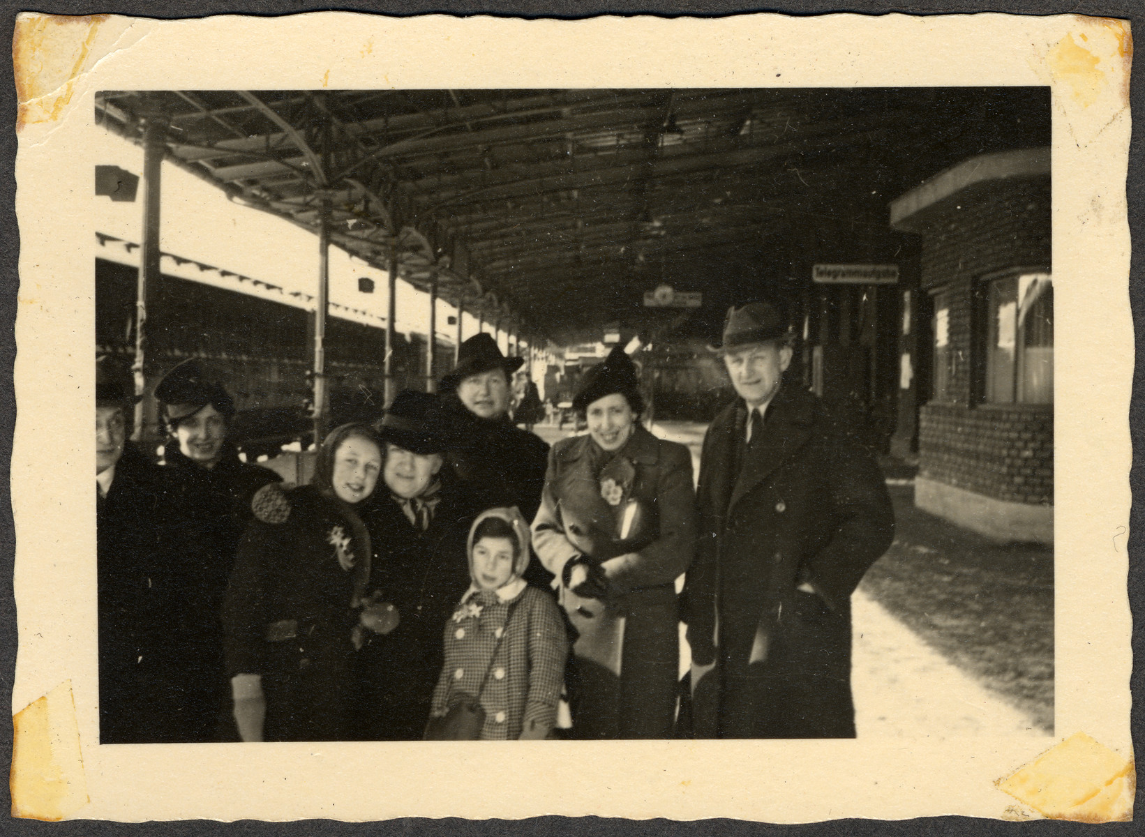 The Seligman family poses for a family photo at the Regensburg train station just before leaving to immigrate to the United States.  Among those pictured are Julius and Rose Seligman, with their daughters Ellen and Margit.